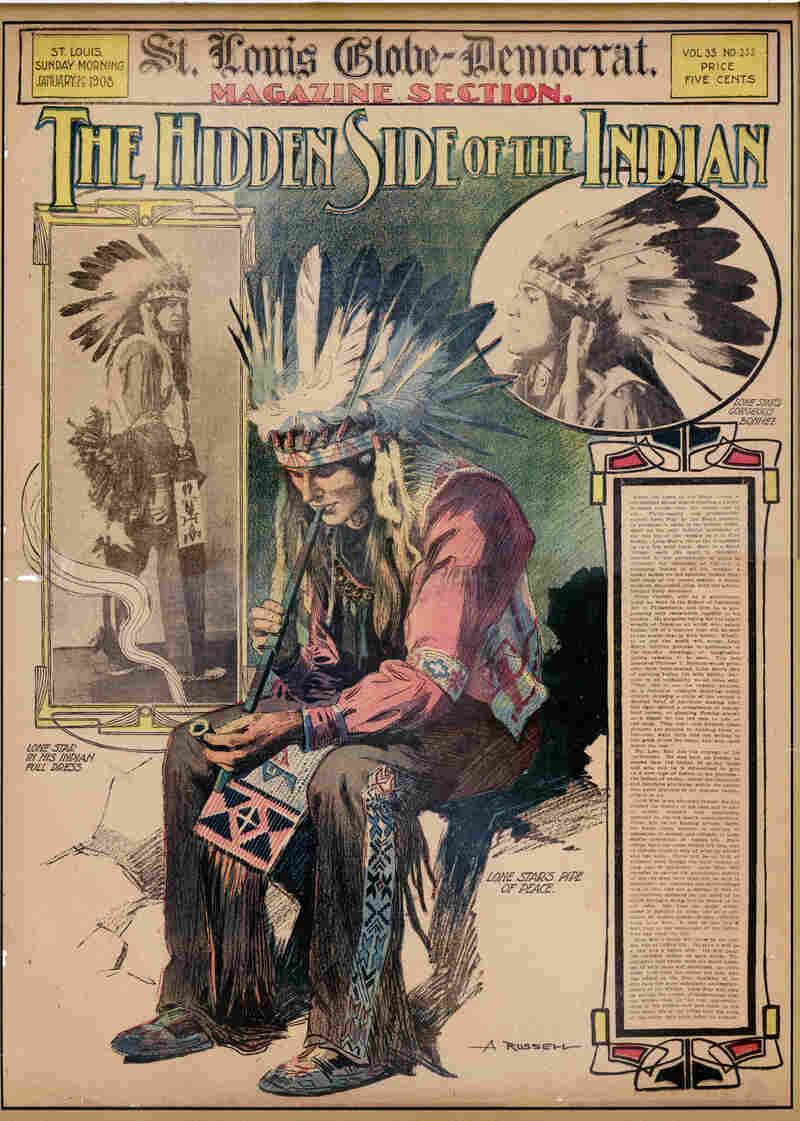 "The cover of the St. Louis Globe-Democrat Sunday supplement from January 1908 shows William ""Lone Star"" Dietz, who in 1916 coached Washington State University to a Rose Bowl victory, in full Indian dress. Some credit Dietz with inspiring the name of the Redskins."