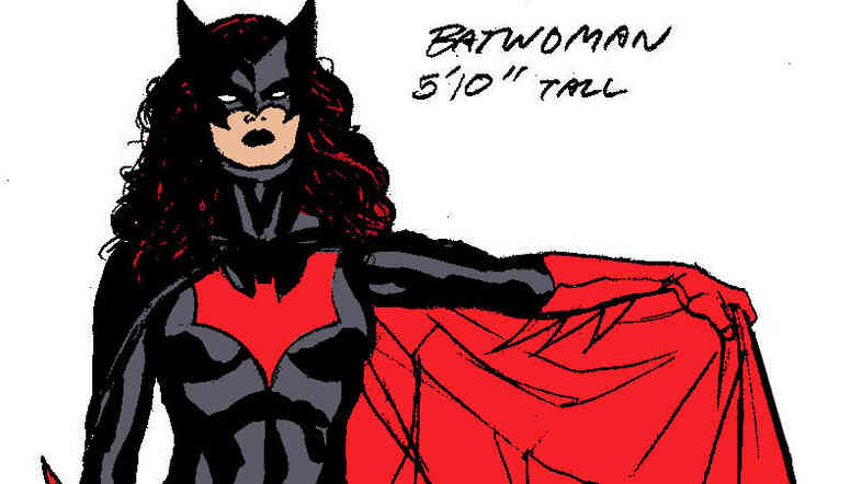 In this illustration released by DC Comics, Batwoman is shown as a 5-foot-10 superhero with flowing red hair, knee-high red boots with spiked heels, and a form-fitting black outfit.