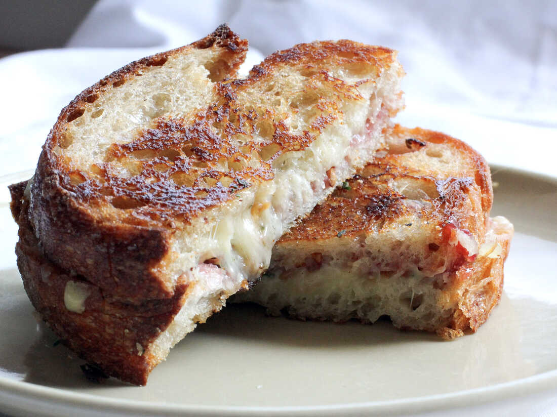 Strawberry Jam and Walnut Herbed Grilled Comte Sandwich