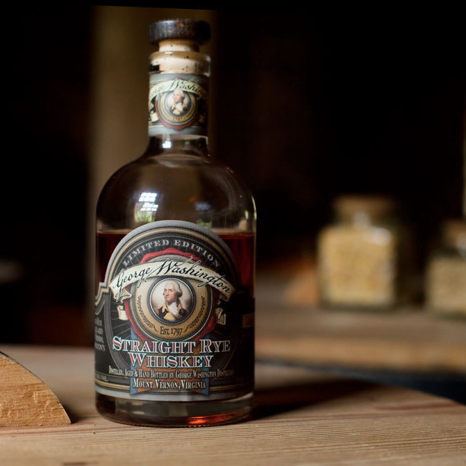 A distillery at Mount Vernon makes a rye whiskey with George Washington's original recipe: 60 percent rye, 35 percent corn, and 5 percent malted barley.