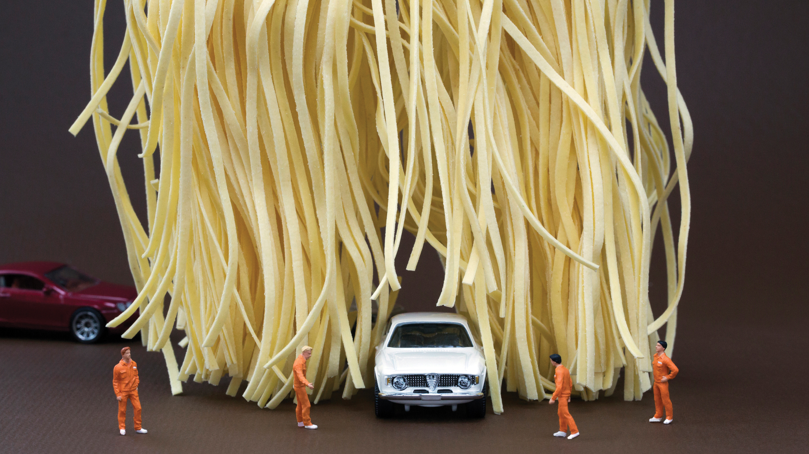 "Linguine Car Wash: ""The deluxe carbonara option was canceled after too many customers lost mirrors and antennas."""