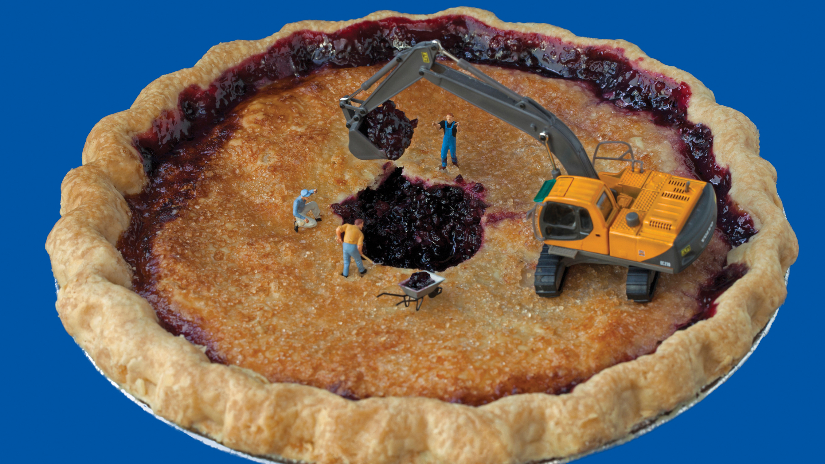 "Pie Excavators: ""Despite their best efforts, they never did manage to find Cecil's lost wedding ring."""