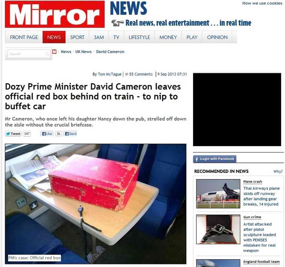 "The prime minister's ""red box,"" looking rather lonely, on a train Saturday from London to York. The Mirror made it front page news."