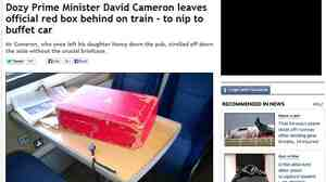 """The prime minister's """"red box,"""" looking rather lonely, on a train Saturday from London to York. The Mirror made it front page news."""