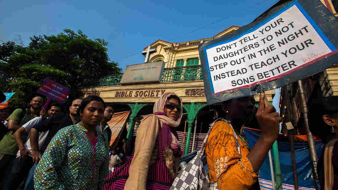 Activists march during an anti-rape rally on June 18 in Kolkata, India.
