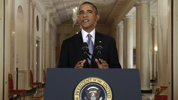 President Obama addresses the nation in a live televised speech from the East Room of the White House on Tuesday. (Getty Images)