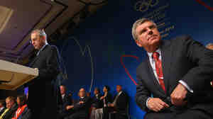 Thomas Bach (right) has been chosen to succeed International Olympic Committee President Jacques Rogge (left). The pair are seen here at the IOC sessions in Argentina over the weekend.