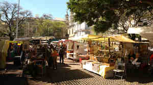 Temperatures have reached record highs in Buenos Aires this week. Here, the city's market of Plaza Dorrego in San Telmo is seen on Sunday.