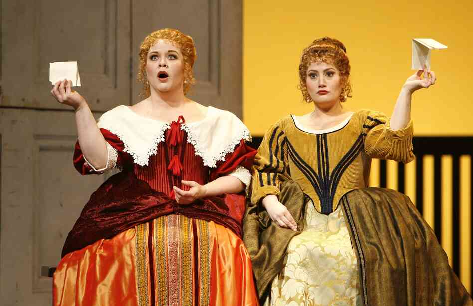 Pamela Armstrong (left) as Alice Ford and Heather Johnson as Meg Page in New York City Opera's production of Falstaff. The so called people's opera may have to cancel its upcoming season if fundraising falls short.