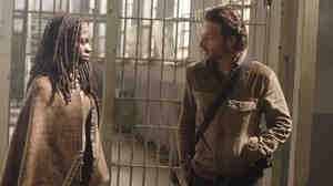 Michonne (Danai Gurira) and Rick (Andrew Lincoln), in between curses on AMC's The Walking Dead.