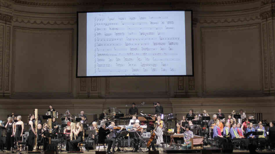 An incredible roster of musicians gathered at Carnegie Hall in 2009 to play Terry Riley's epic 'In C' — with the complete, but only single-page, score projected overhead.