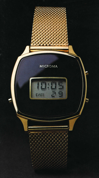 A Microma model, circa 1978. Intel's early Microma watches retailed for around $300, but prices fell significantly as the market for LCD watches grew.