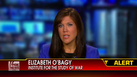 A screen grab of Elizabeth O'Bagy's appearance on Fox News on Sept. 5. She has been on many news programs in recent days commenting on the Syrian war. She was fired on Wednesday for falsely claiming to have a Ph.D., according to her employer, the Institute for the Study of War.