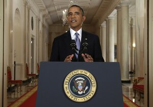 President Obama addresses the nation in a live televised speech from the East Room of the White House on Tuesday.