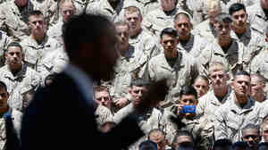 Members of the U.S. Marine Corps listen to President Obama during his visit to Camp Pendleton, Calif., in August.