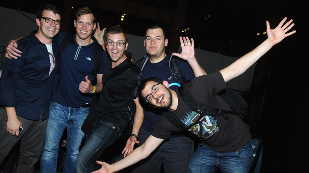 Hackers pose at Disrupt Hackathon in 2011. (Getty Images)