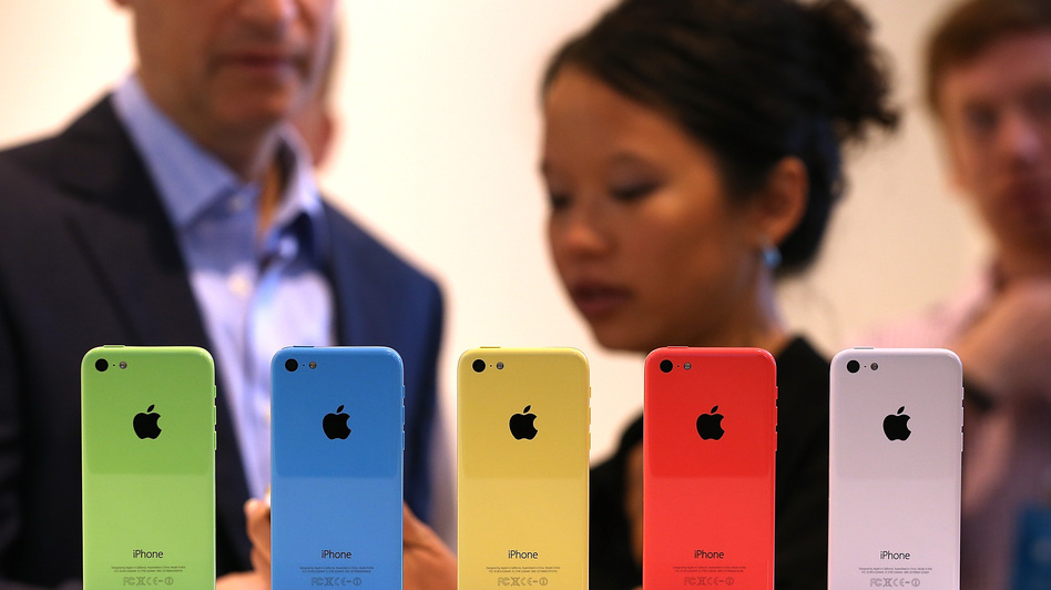The new iPhone 5c is displayed during an Apple product announcement Tuesday in Cupertino, Calif.