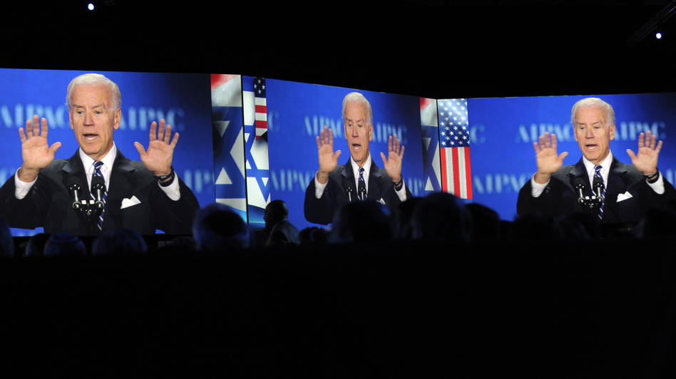 Vice President Joe Biden, projected on screens, gestures as he addresses the American-Israeli Public Affairs Committee (AIPAC) 2013 Policy Conference in March. (AP)