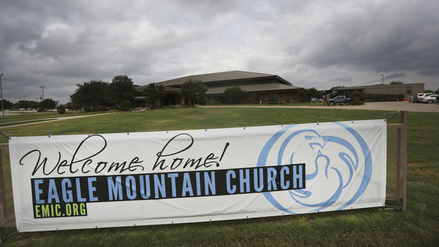 The Eagle Mountain Church in Newark, Texas, was linked to at least 21 cases of measles this year, mostly in children. (AP)
