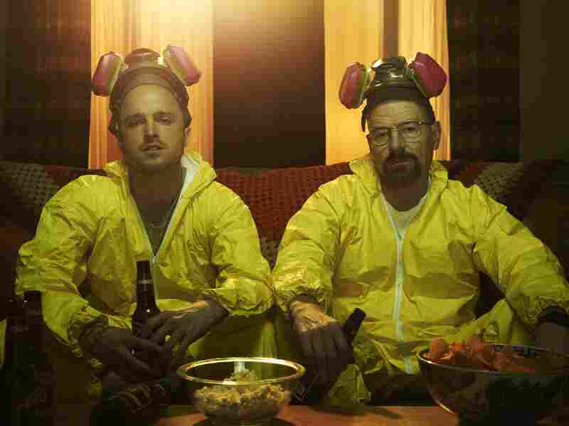 Aaron Paul and Bryan Cranston as Jesse and Walt on AMC's Breaking Bad, which will have its finale in a few weeks.