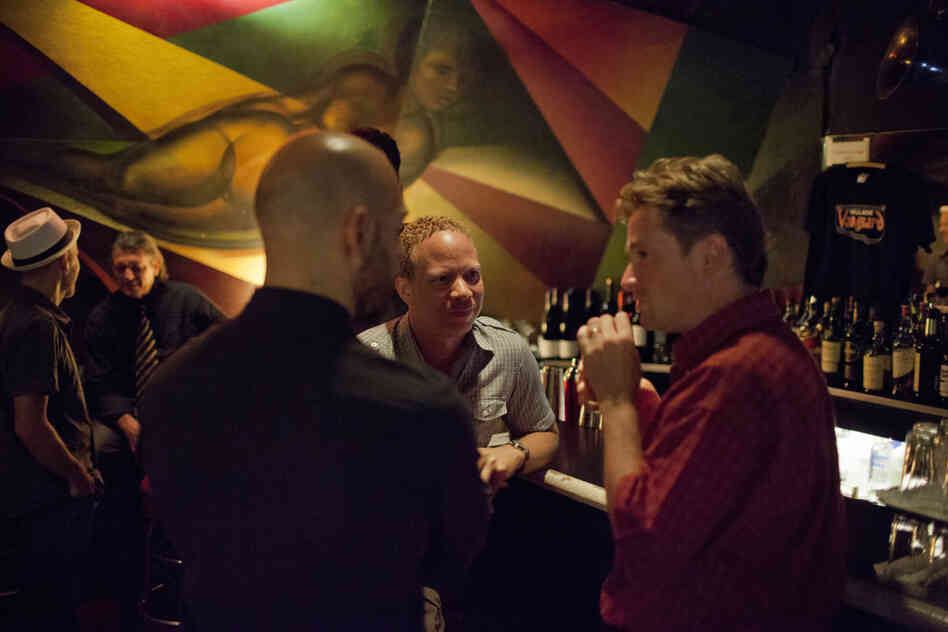 At the Village Vanguard bar: (L-R) Chris Speed, Billy Peterson, Dave King, Craig Taborn, Bill Carrothers.