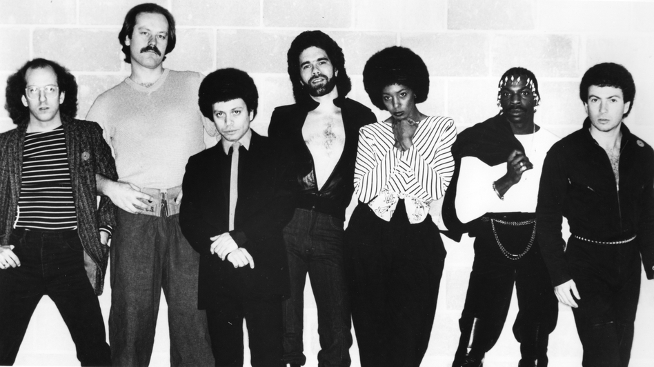 "Members of the disco group Lipps, Inc., including Steven Greenberg (far left), pose for a portrait in 1978. Greenberg, who wrote the group's hit ""Funkytown,"" is seeking to reclaim the song's full copyright from Universal Music Group."