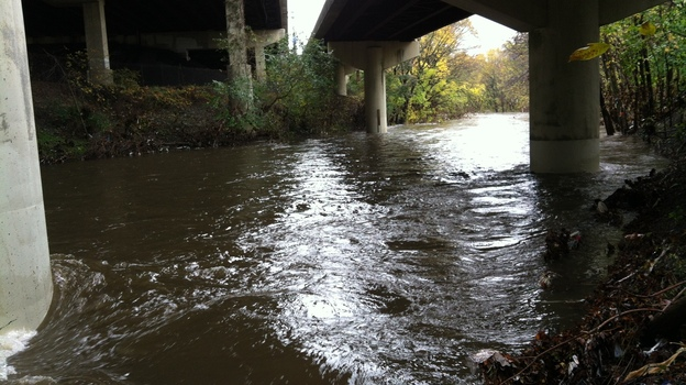 Gwynns Falls runs beneath Interstate 95 at Carroll Park in Baltimore. The chemistry of this river, like many across the country, is changing. (Courtesy of Sujay Kaushal)