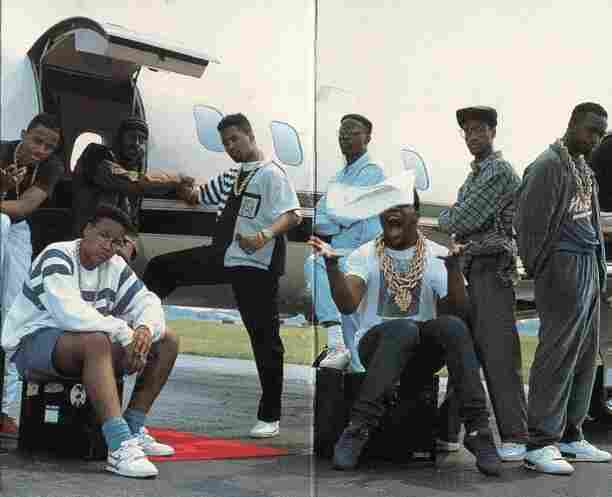 The Juice Crew on the back of In Control Vol. 1. From left to right standing: MC Shan, Big Daddy Kane, Marley Marl, DJ Polo, Masta Ace and Kool G Rap. Seated: Craig G and Biz Markie.