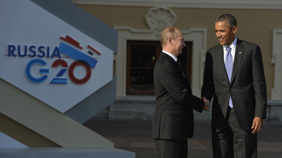 Russia's President Vladimir Putin welcomes President Obama at the start of the G-20 summit on Sept. 5 in St. Petersburg. Russia.