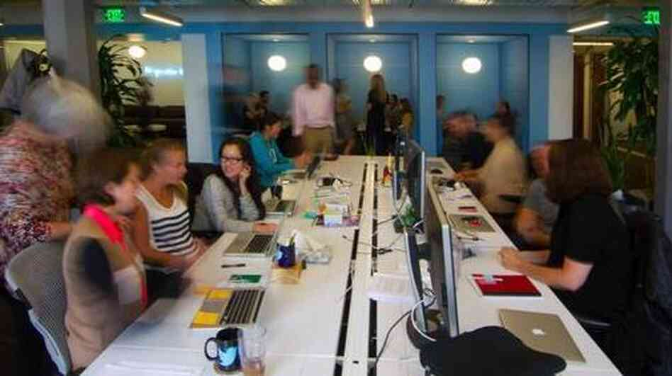 Twitter employees at work, in a photo tweeted Wednesday by the company.