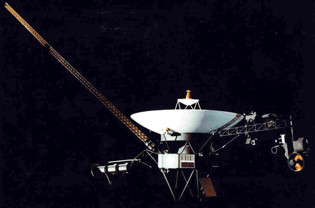 "This artist's illustration shows the Voyager 1 space probe. The spacecraft was launched on Sept. 5, 1977, and as of August 2012, it is outside the bubble of hot gas, known as the ""heliopause,"" that radiates from the sun."