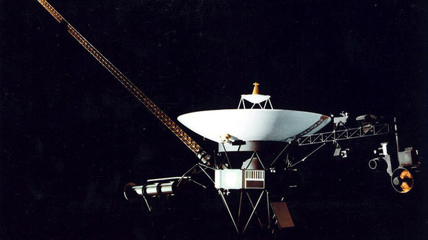 """This artist's illustration shows the Voyager 1 space probe. The spacecraft was launched on Sept. 5, 1977, and as of August 2012, it is outside the bubble of hot gas, known as the """"heliopause,"""" that radiates from the sun. (NASA/Landov)"""