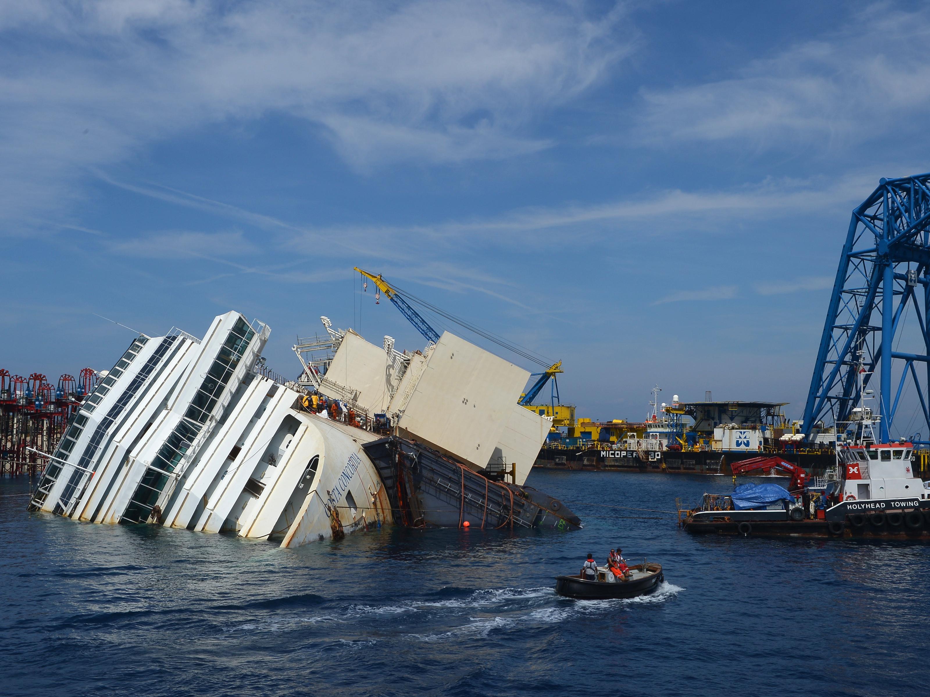 Off The Tuscan Coast, Raising The Ill-Fated Costa Concordia