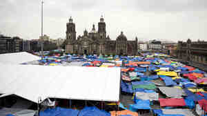 General view of the Zocalo of Mexico City, on September 2, 2013, while thousands of teachers camp in protest against the new education law passed by the Congress.