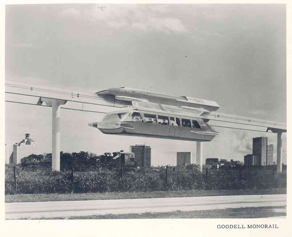 Goodell Monorail, 1963 — The coaches on the proposed monorail took design cues from the Cadillacs of the time.
