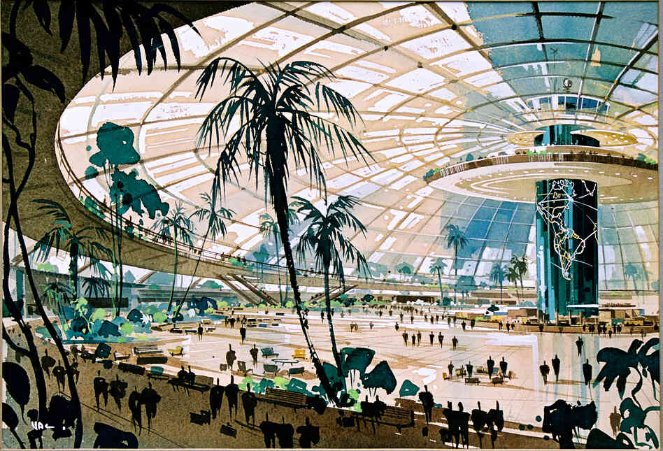 Pereira and Luckman, Los Angeles International Airport Original Plan, 1952 — The original design for LAX had a single, centralized terminal under a glass dome, a plan which was nixed by both the airlines and city engineers.
