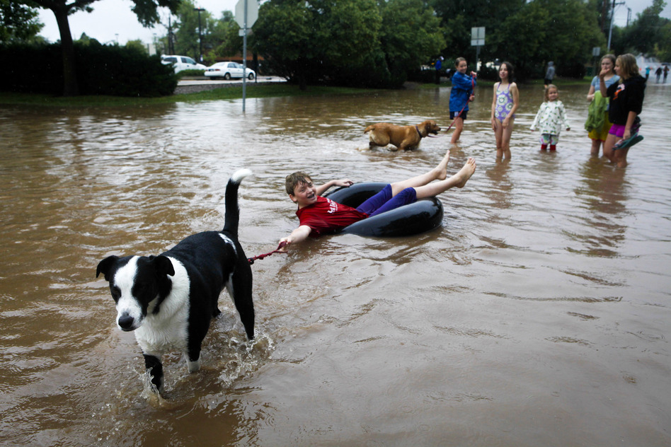 Nicky Toor is pulled by his dog, Chaco, down a flooded street in Boulder.  (Getty Images)