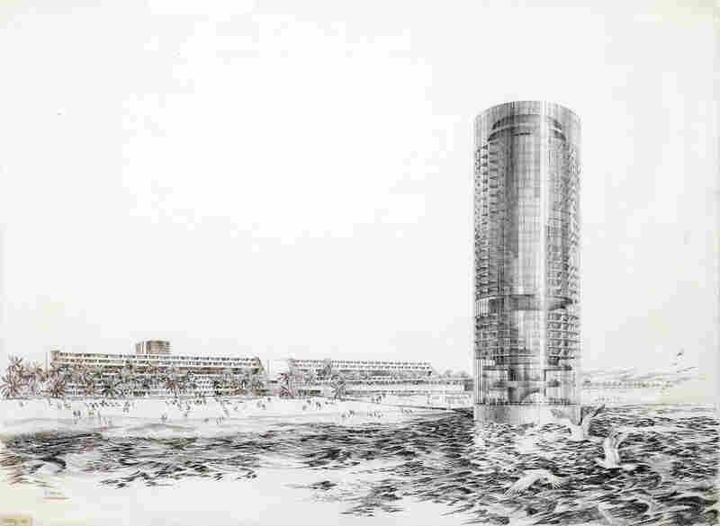DMJM, Pacific Ocean Park Redevelopment, 1969 — The designer proposed a 30-story hotel situated 300 feet offshore. It would have had a glass-enclosed bridge to connect it to land; alas, it fell victim to real estate negotiations.