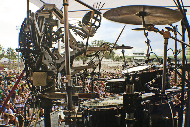 Stickboy, Compressorhead's four-armed drummer rocks out in front of thousands of fans at the Big Day Out music festival.