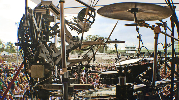 Stickboy, Compressorhead's four-armed drummer rocks out in front of thousands of fans at the Big Day Out music festival. (ekto23)