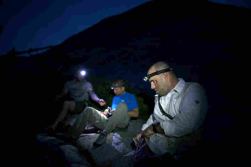 The group set out at 3 a.m. on Sept. 11 to begin the climb up Half Dome. Army Maj. D.J. Skelton (right), co-founder of Paradox Sports, was gravely injured in the second battle of Fallujah, Iraq, in 2004.