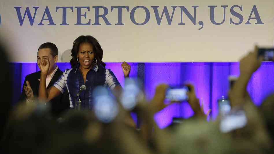 First lady Michelle Obama participates in an event at Watertown High School to encourage people to drink more water.