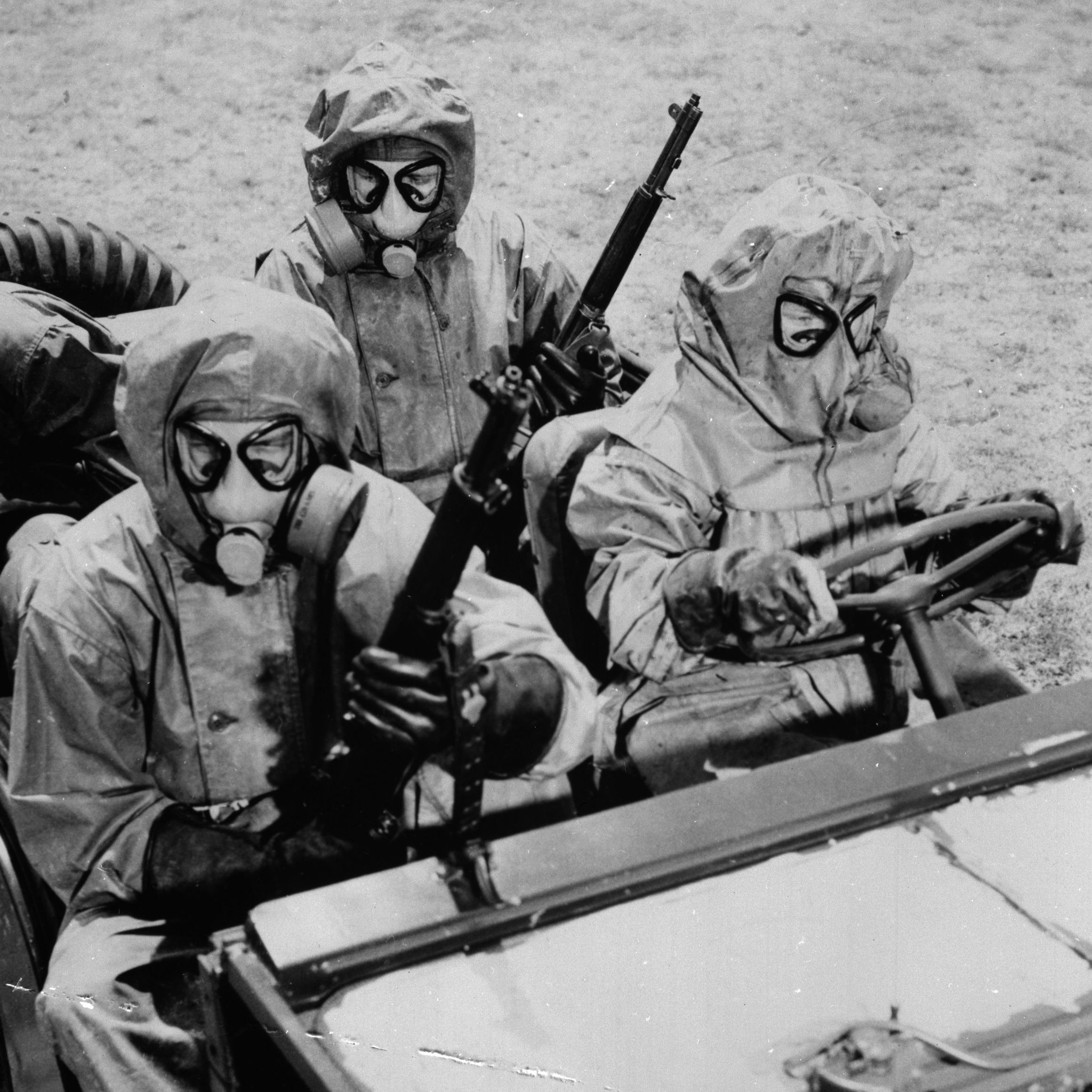 Members of an American Marine chemical team where protective gear at Kaneche in Hawaii in 1959.
