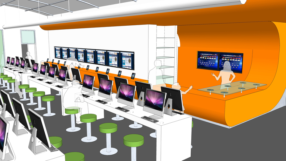 An artist's rendering shows computer stations at the new BiblioTech bookless public library in Bexar County, Texas. The library is holding its grand opening Saturday. (Courtesy of Bexar County )