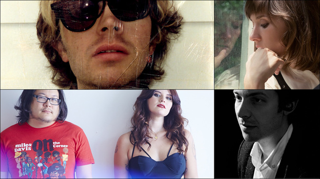 Clockwise from upper left: Beck, Cate Le Bon, Arp's Alexis Georgopoulos, Best Coast (Courtesy of the artists)