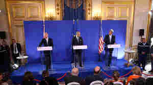 """Secretary of State John Kerry discusses the U.S.-Russia plan to eliminate Syria's chemical weapons with top British diplomat William Hague (left) and French diplomat Laurent Fabius, on Monday. Former weapons inspector David Kay says the plan includes """"unrealistic"""" deadlines."""