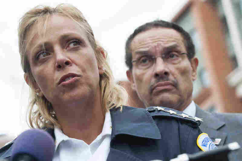 Washington, D.C., Police Chief Cathy Lanier and Mayor Vincent Gray speak to the media.