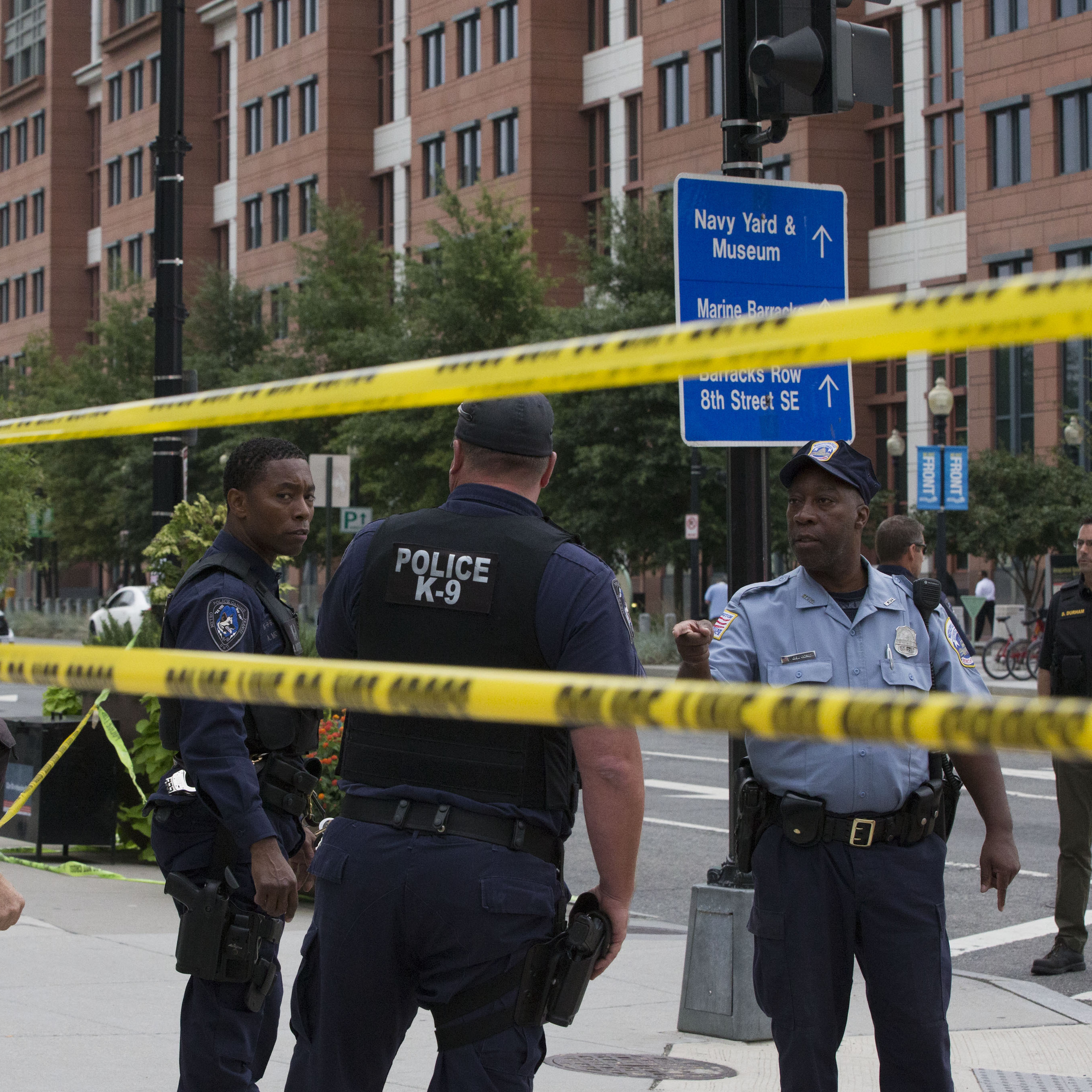 The scene outside the Washington Navy Yard shortly after Monday morning's shooting incident.