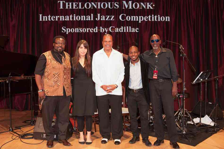 The 2013 finalists pose with Thelonious Monk Institute officials. Left to right: Godwin Louis, Melissa Aldana, institute honorary co-chair Billy Dee Williams, Tivon Pennicott, chairman T.S. Monk.