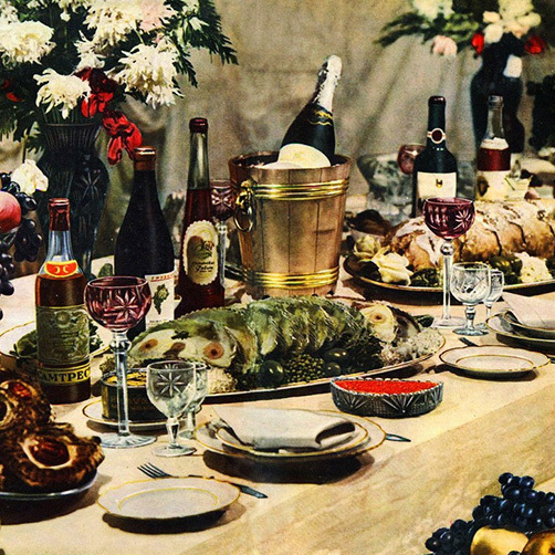 A banquet spread is pictured in the 1952 edition of The Book of Tasty and Healthy Foods. The cookery book, published in the former Soviet Union, promoted a fantasy of abundance at a time when privations abounded.